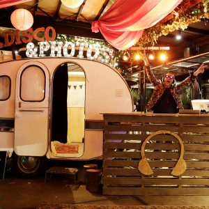 Jolly Booth on Wheels photobooth caravan silent disco